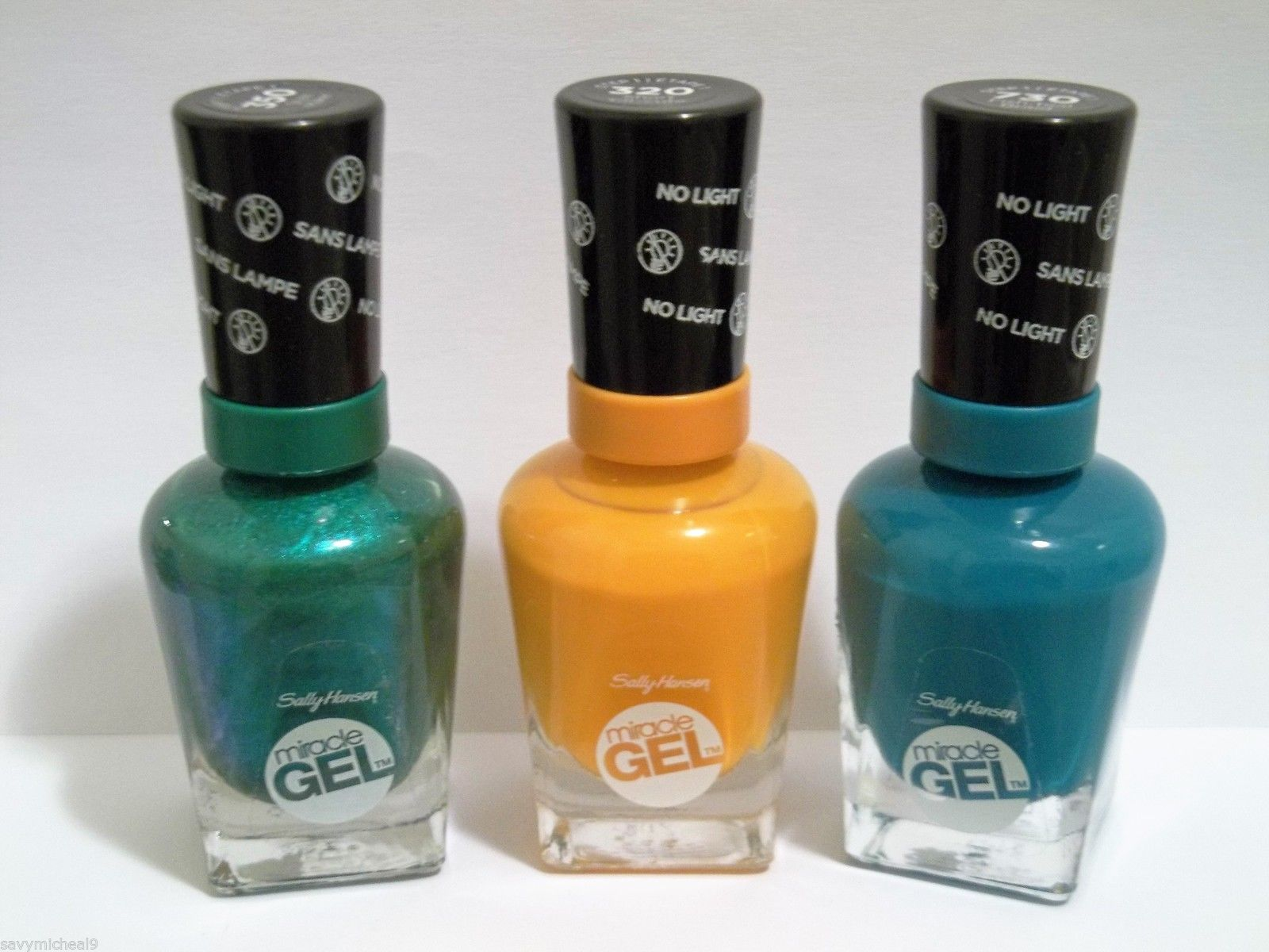 Primary image for LOT OF 3 Sally Hansen Miracle Gel Nail Polish Green,Sunshine,Fish Teal Braid