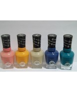 LOT OF 5 Sally Hansen Miracle Gel Nail Polish Pink,Beige,Sunshine,Blue,Teal - $17.77