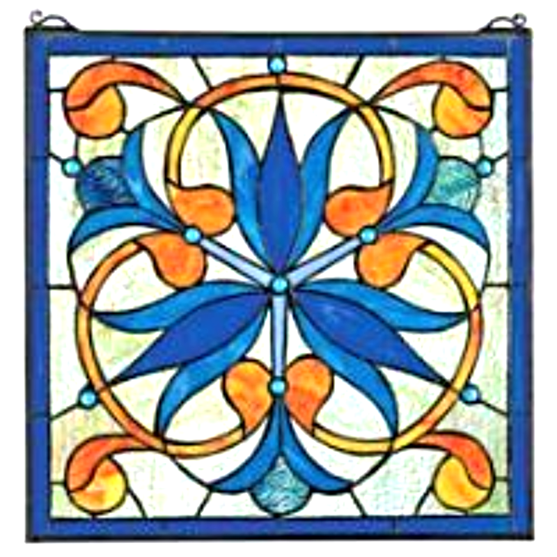 Primary image for Mokara Orchid Trefoil Floral Stained Glass Window