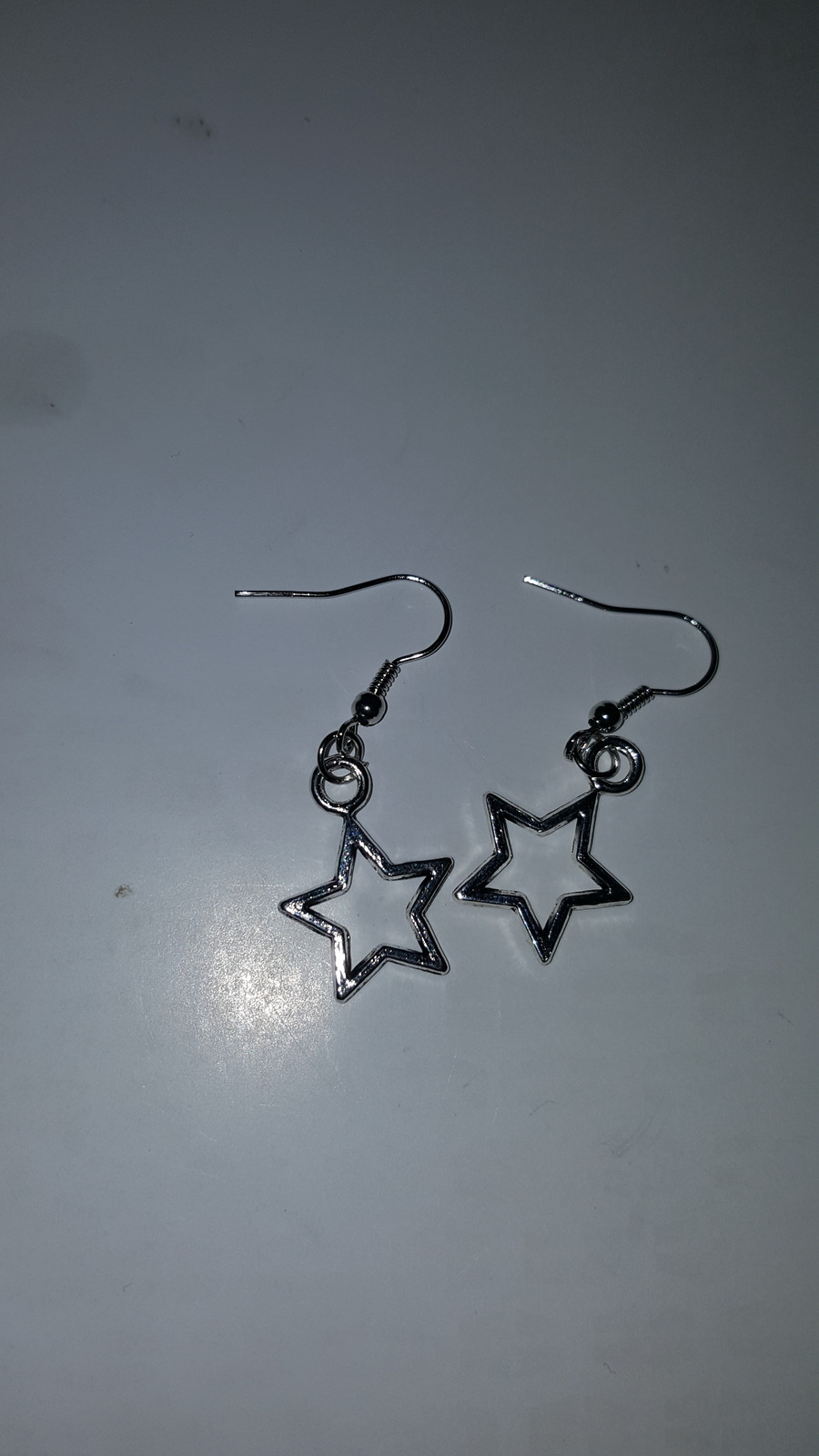 Primary image for SILVER PLATED STAR DANGLE EARRINGS     C/S & H AVAILABLE