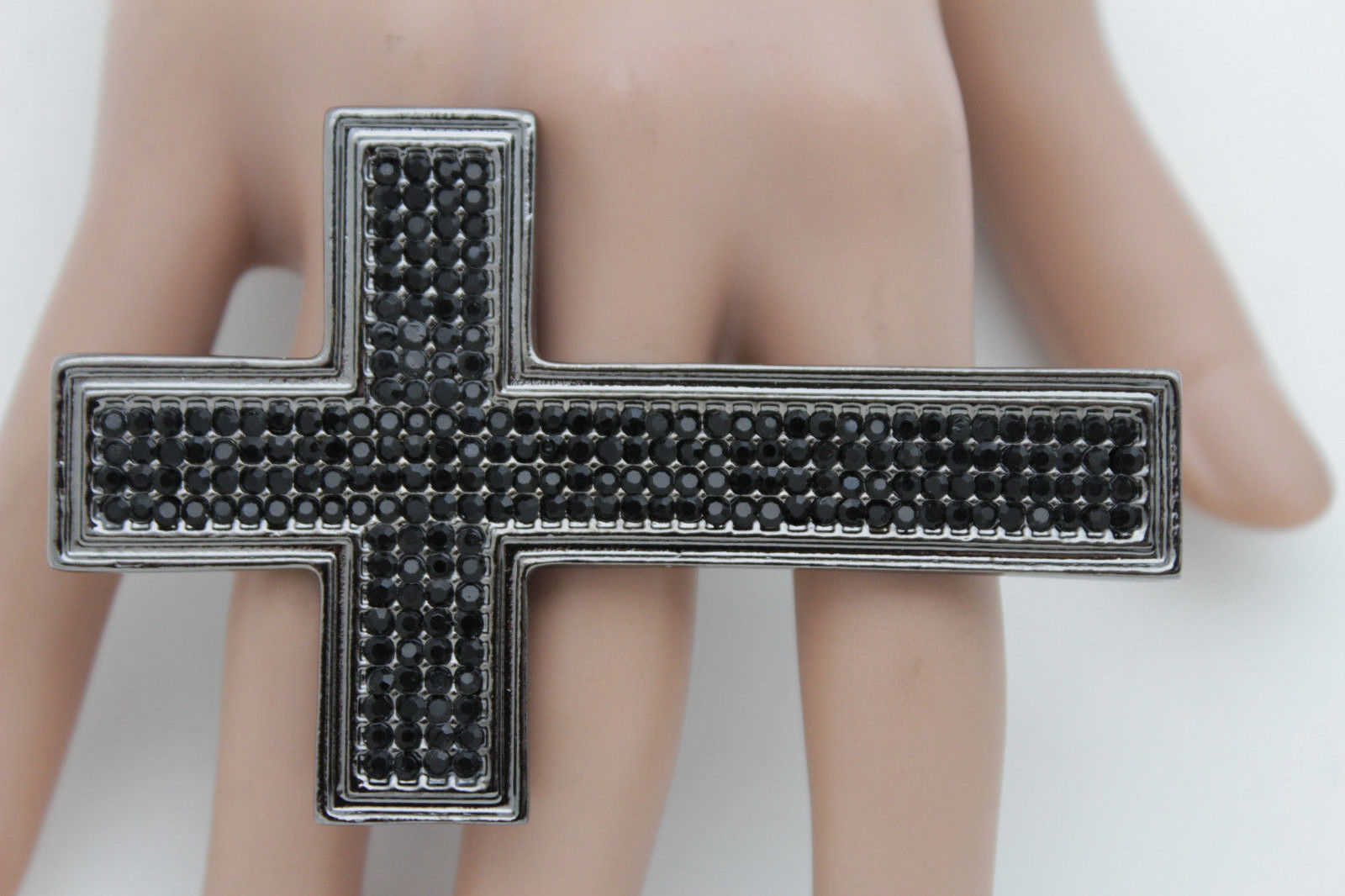 Primary image for Women Ring Fashion All 4 Fingers Metal Pewter Metal Black Rhinestones Cross Long