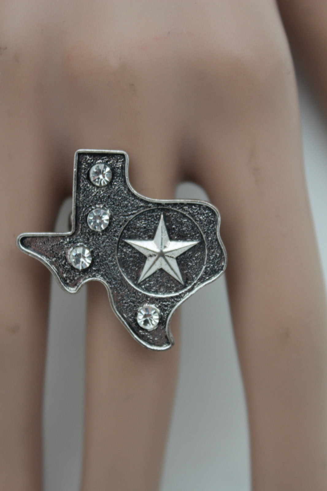 Primary image for Women Antique Silver Metal Texas State Map Lone Star Fashion Ring Elastic Band