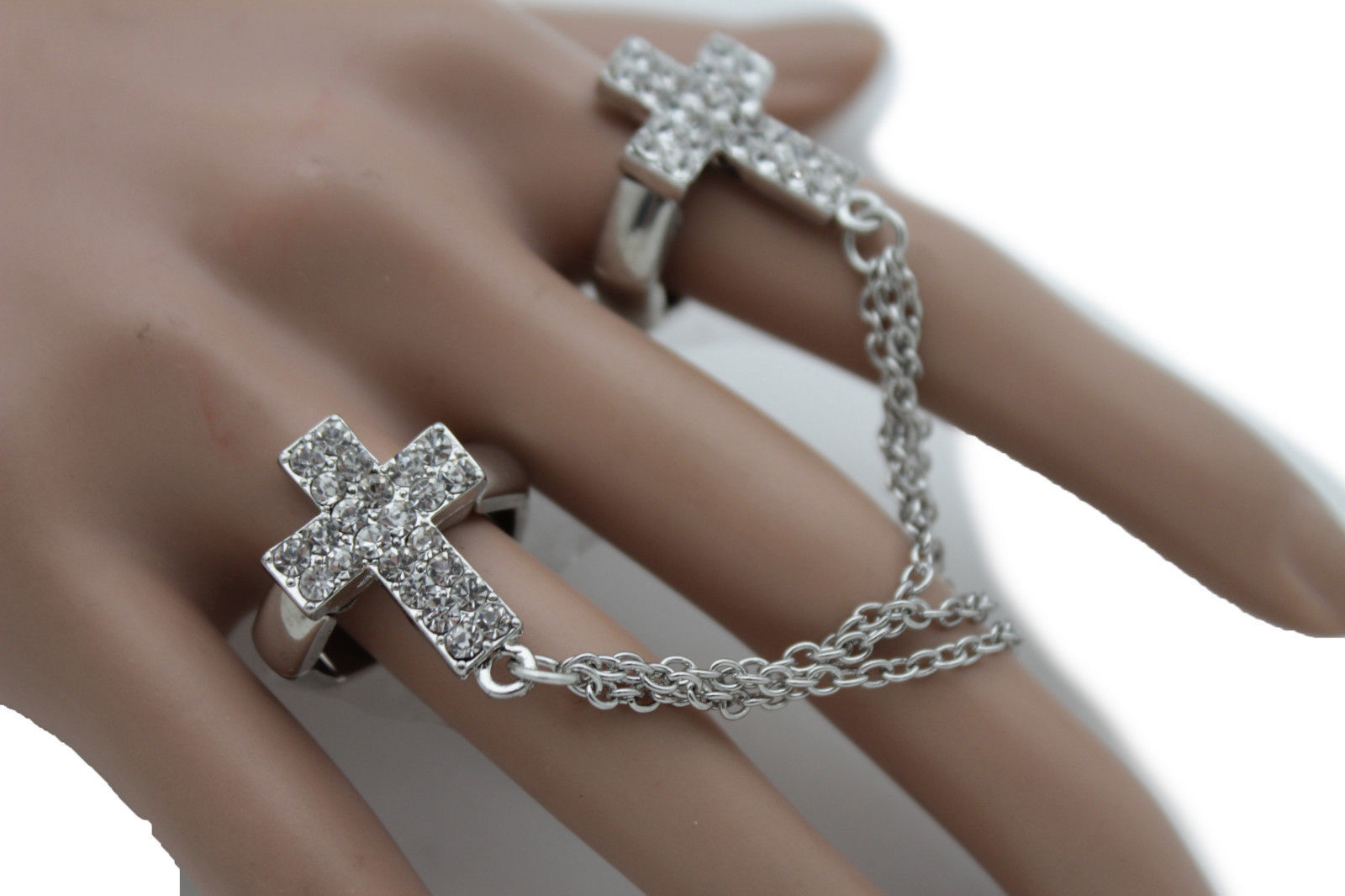 Primary image for Women Silver Long Metal Chains Fashion Double Rings 2 Fingers Cross Charm Church