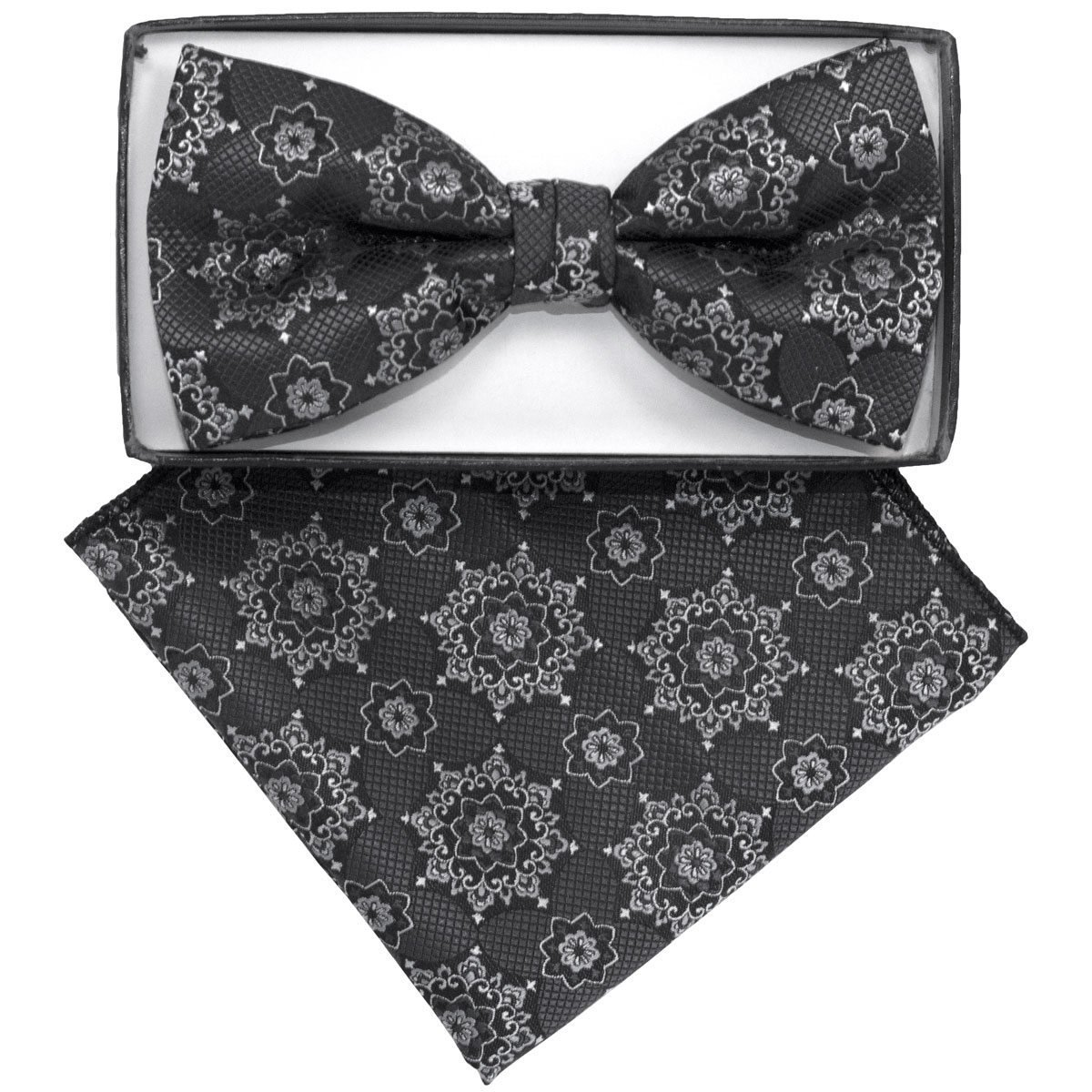 Primary image for Men's Grey Geometric Pre Tied Bow Tie And Handkerchief Set Bh-2005
