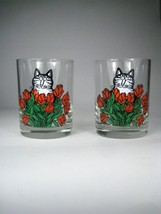 2 Kliban Tumblers Glasses Clear Cat Bouquet Red Flowers Tastesetter - $24.74