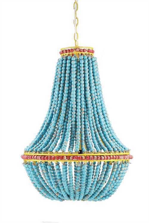 "Turquoise Blue Wood Beads Fancy Beaded Iron Chandelier 26""H"