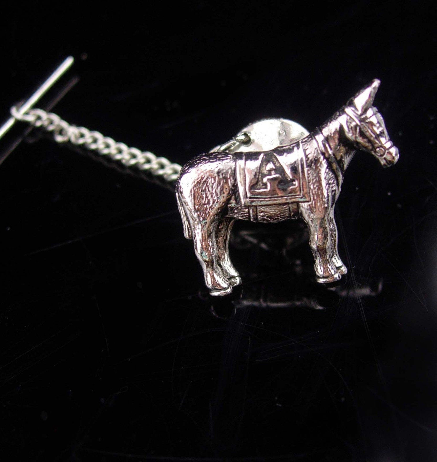 Primary image for Jackass tie tack  / Democrat donkey / STUBBORN as a MULE / Vintage silver Donkey