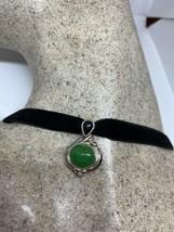 Vintage Green Jade Choker Necklace 925 Sterling Silver Deco - $67.32