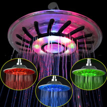 8 inch Colorful Color RGB LED Light Rainfall Top Round Shower Head Bath - $18.55