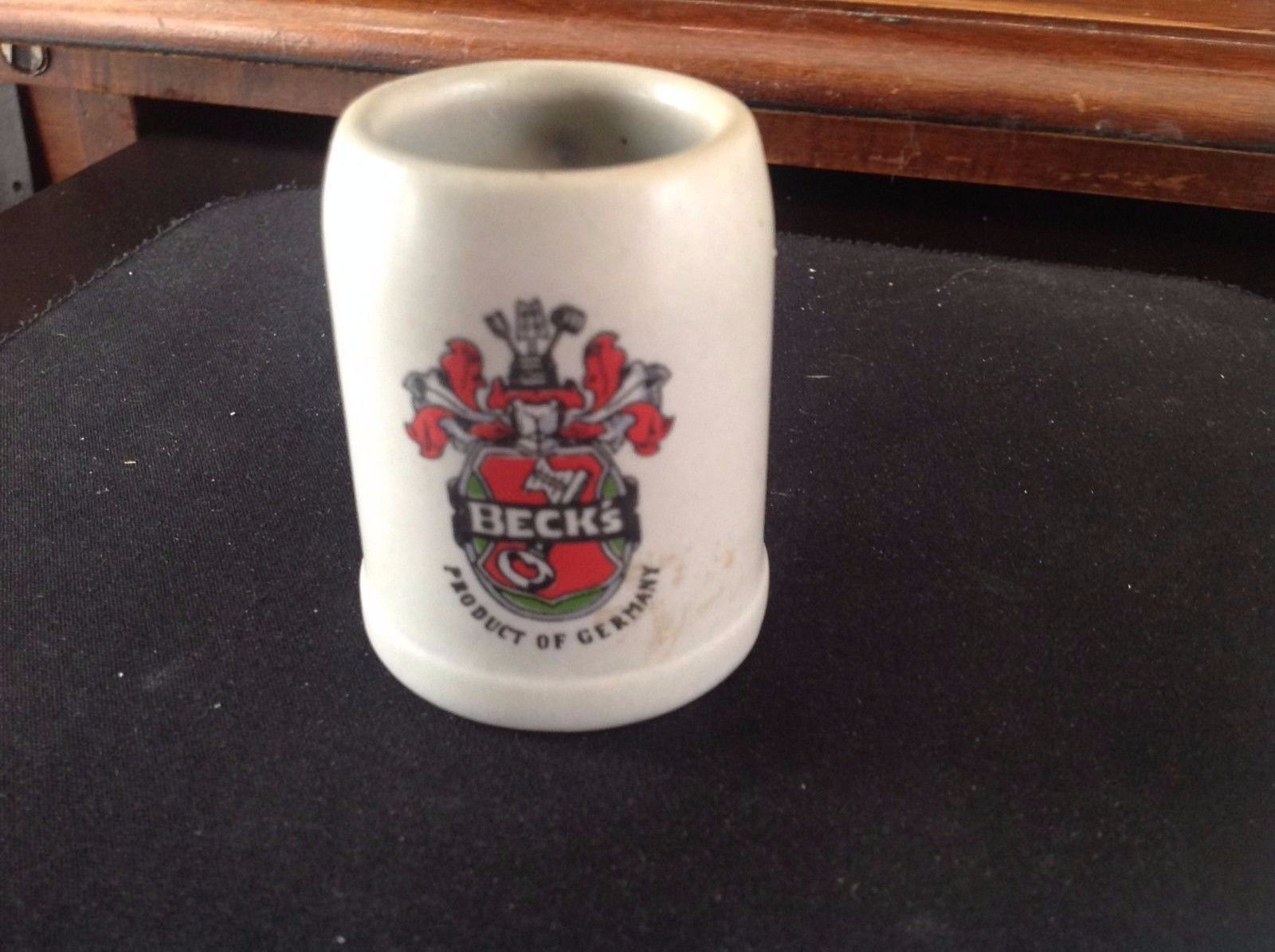 Primary image for Beck's Miniature Beer Stein Shot Glass Stoneware Mug