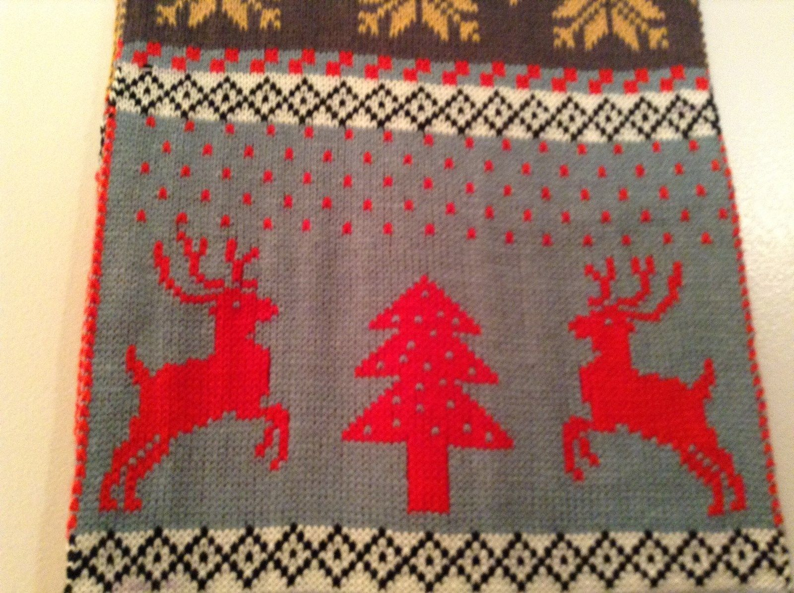 Red Gray Brown Yellow Striped Deer reindeer Tree Knit Scarf w Pom Poms Winter