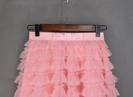 Blush Tiered Midi Tulle Skirt Blush Bridesmaid Skirt Outfits Tulle Puffy Skirts image 9