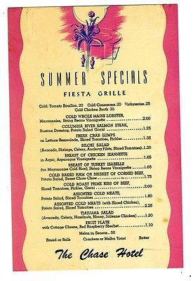 Primary image for The Chase Hotel Fiesta Grill Summer Specials Menu 1960's Palm Springs California