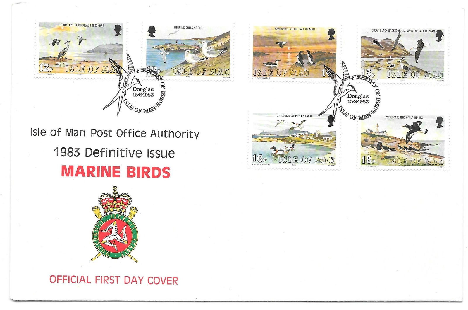 Isle of Man Marine Birds 1983 Defins 16 Values on set of 3 FDCs Sc 224 - 239
