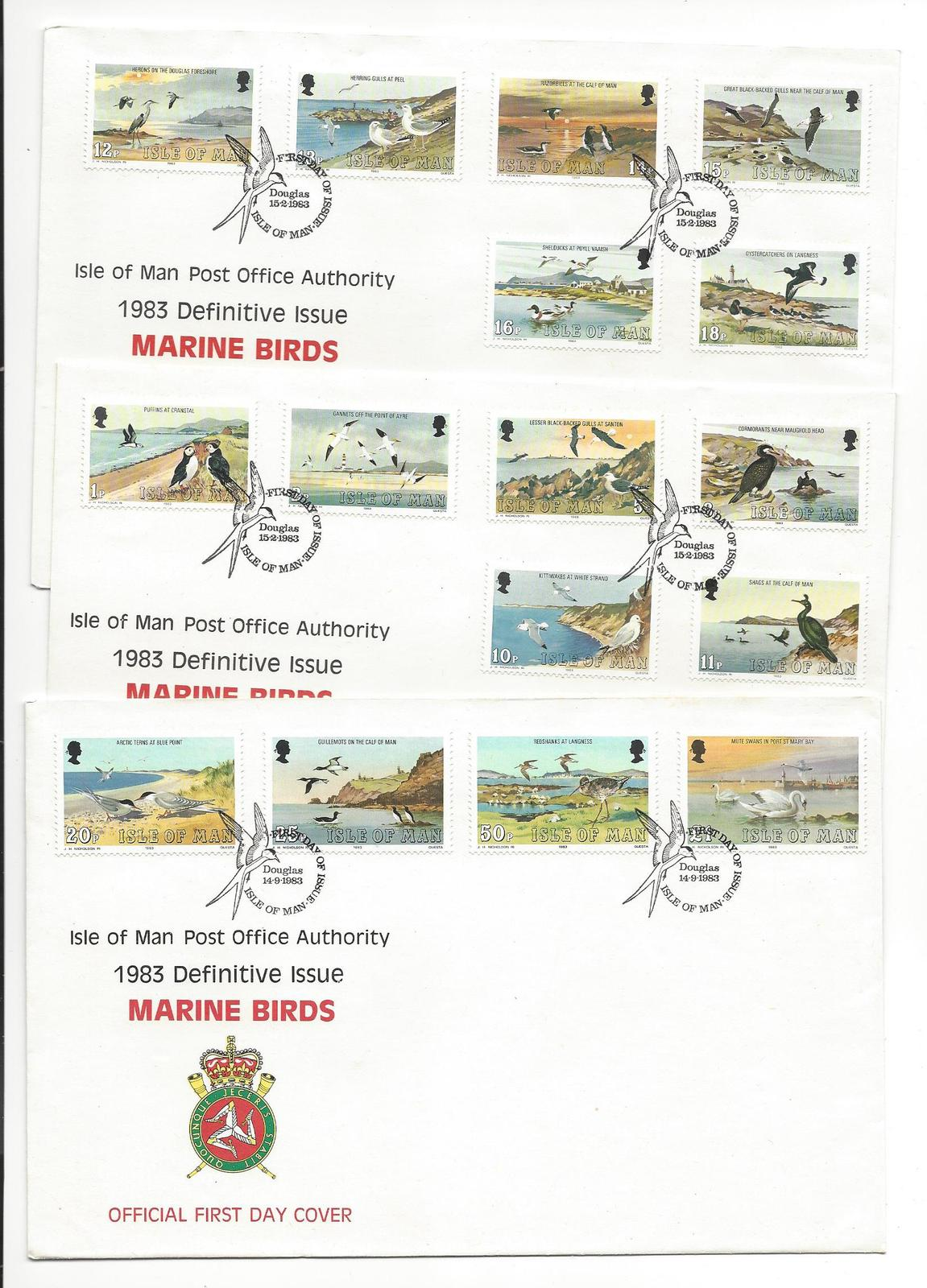 99 isle of man marine birds fdcs