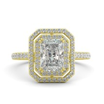 2.70 ct Radiant Brilliant Moissanite & Round Diamond Engagement Ring 18k Y Gold - $2,113.00