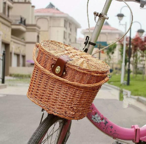 Primary image for Wicker Bike Basket Bicycle Front Box Handlebar Large Size Carry Accessories Hot