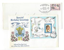 1982 Isle of Man 2 Princess Diana Birthday Covers SS FDC and Castletown ... - $4.99
