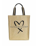 Victoria's Secret Fashion Show tote bag glamour glitter Gold & black hea... - $25.23