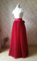 Adult Long Red Tulle Skirt 4-Layered Floor Length Tulle Skirt Plus Size image 4