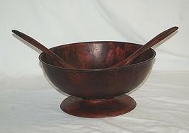 Old Vintage Pressed Woven Wood Lazy Susan Salad Bowl w Serving Utensils MCM - $36.62