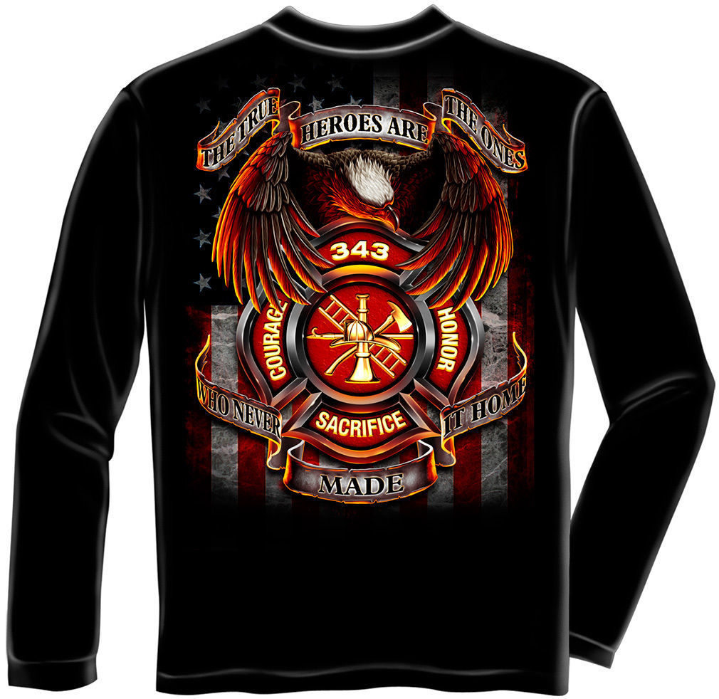 Primary image for New FIREFIGHTER LONG SLEEVE T-SHIRT - TRUE HEROES EAGLE