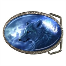 Fantasy White Wolf Animal Chrome Finished Belt Buckle - $9.65