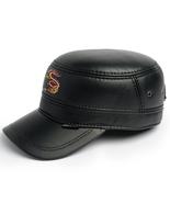 Leather Skin Handmade Genuine Black Leather Snapback Cap with Dragon Cap - €32,71 EUR