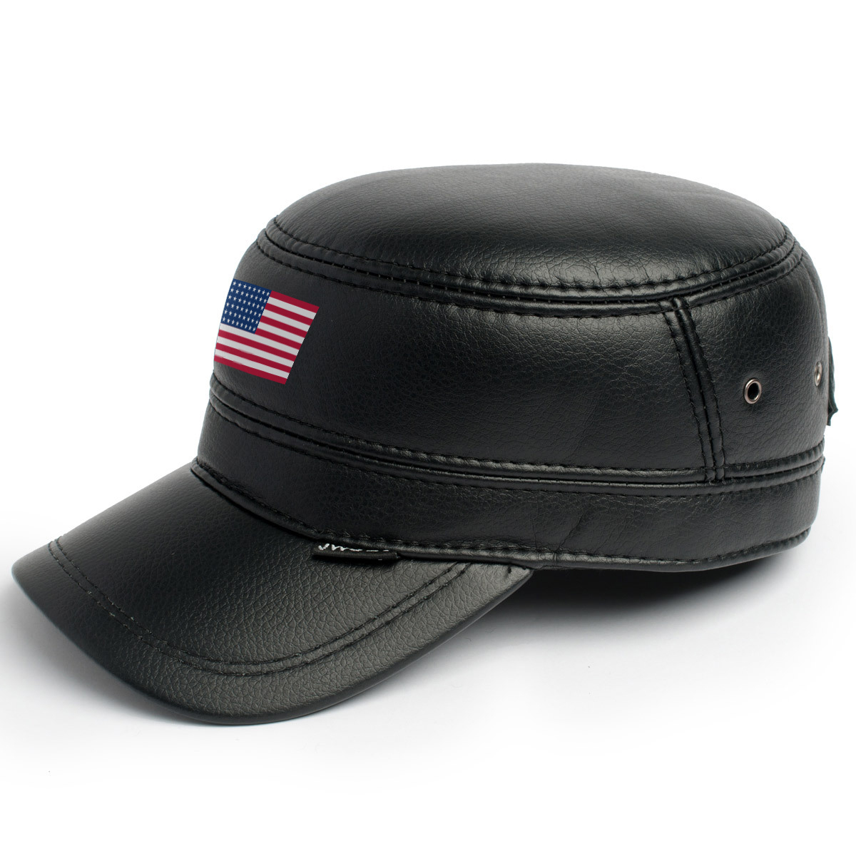 Primary image for Leather Skin Handmade Genuine Black Leather Snapback Cap with American USA Flag