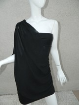 Alice + Olivia Dark Blue One Shoulder Draped Dress Size 4 - $46.50