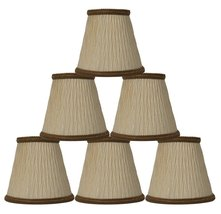 Urbanest Cream with Dark Gold Braided Trim Bamboo Pleat Chandelier Lamp Shade Ch - $34.64