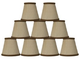 Urbanest Cream with Dark Gold Braided Trim Bamboo Pleat Chandelier Lamp Shade Ch - $52.46