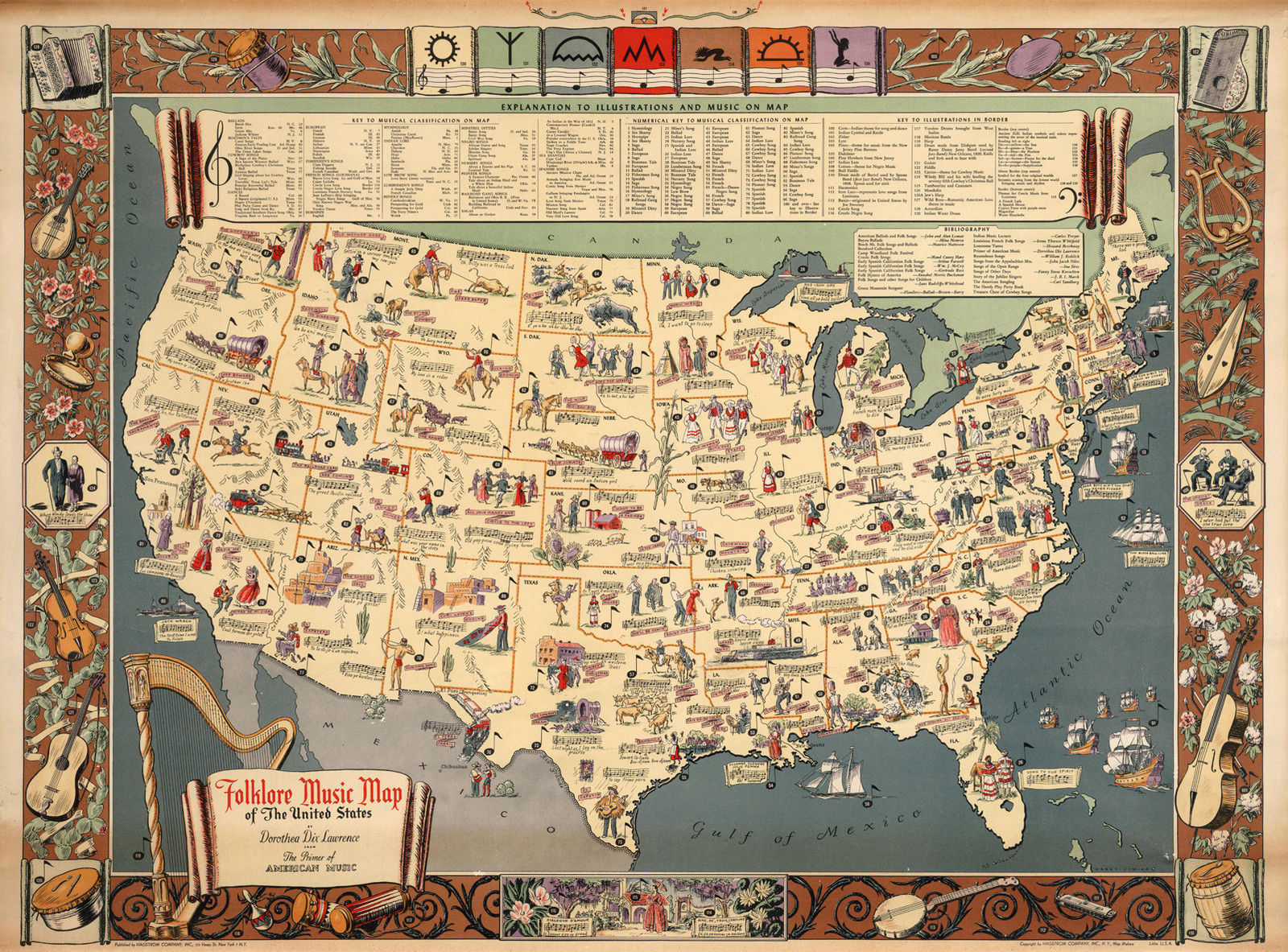 Primary image for 1931 Folklore Music Map of the United States Wall Art Poster Decor History Print
