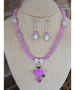 HANDMADE 6mm LAVENDER PINK DRAGON VEIN BEADED PINK DRUZY PENDANT  TOGGLE  CLASP - $32.07