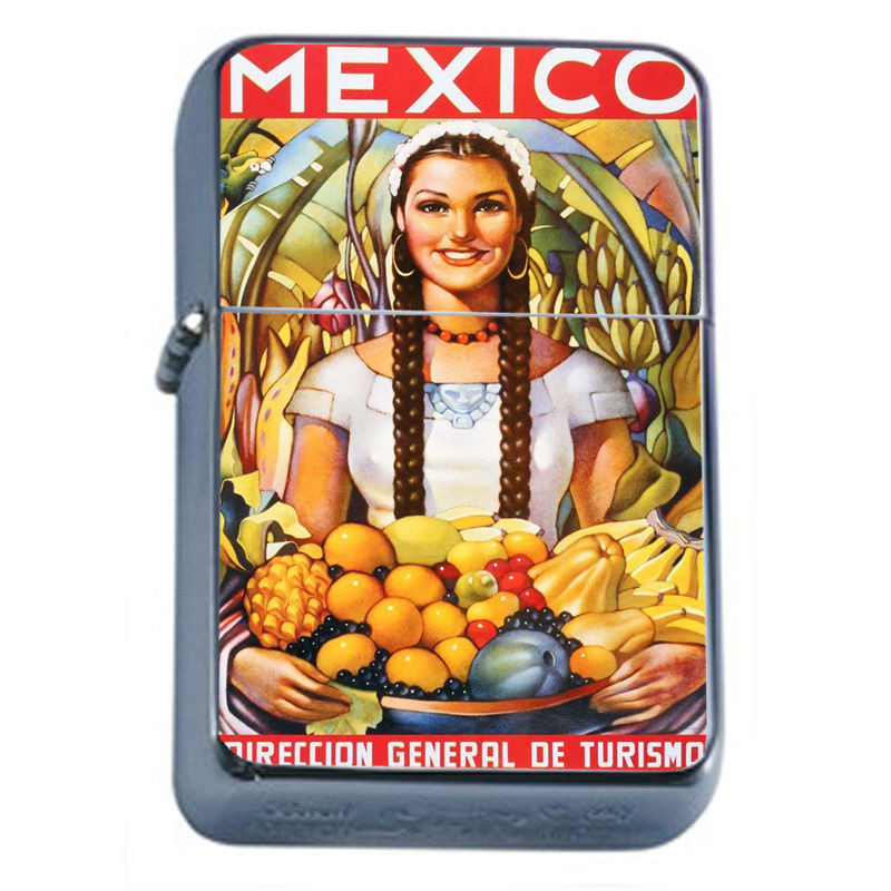 Primary image for Vintage Poster D45 Windproof Dual Flame Torch Lighter Girl Fruits Mexico Travel