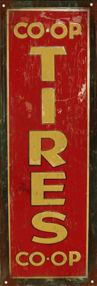 Primary image for Reproduction CO Op Tires Sign Garage Art Service Station Sign