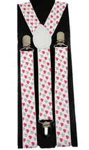 "Unisex Clip-on Braces Elastic ""W/Pink Heart Glitter"" Y-back Suspender - $6.92"