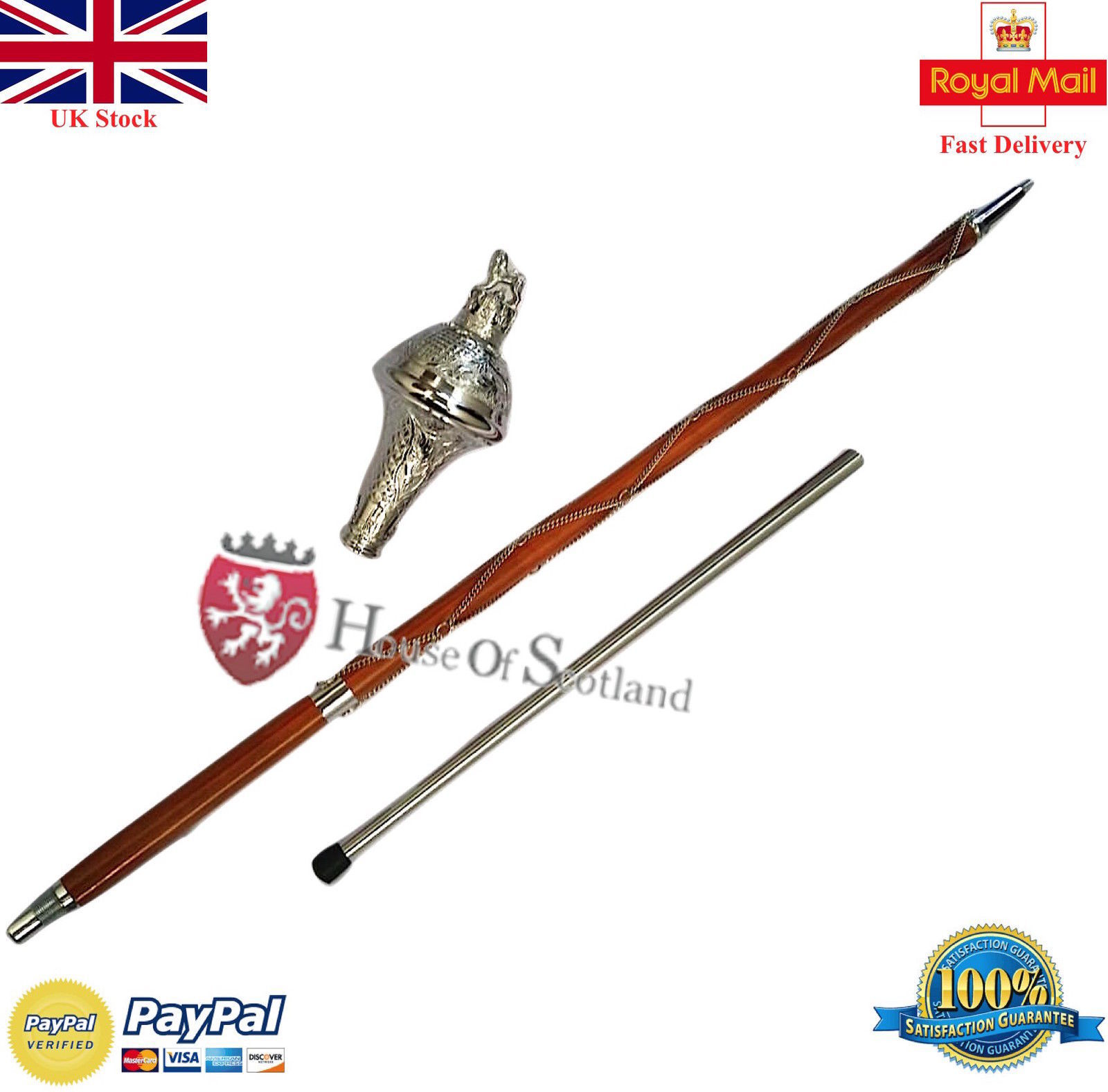 "Primary image for DRUM MAJOR MACE STAFF,STAVE 60"" EMBOSSED HEAD SILVER LION  & FREE CARRYING CASE"