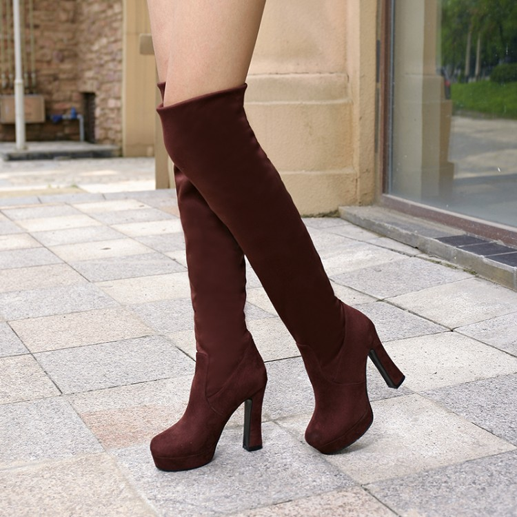 Primary image for PB136 vintage over knee stretch boot, thick heels size 4-9, brown