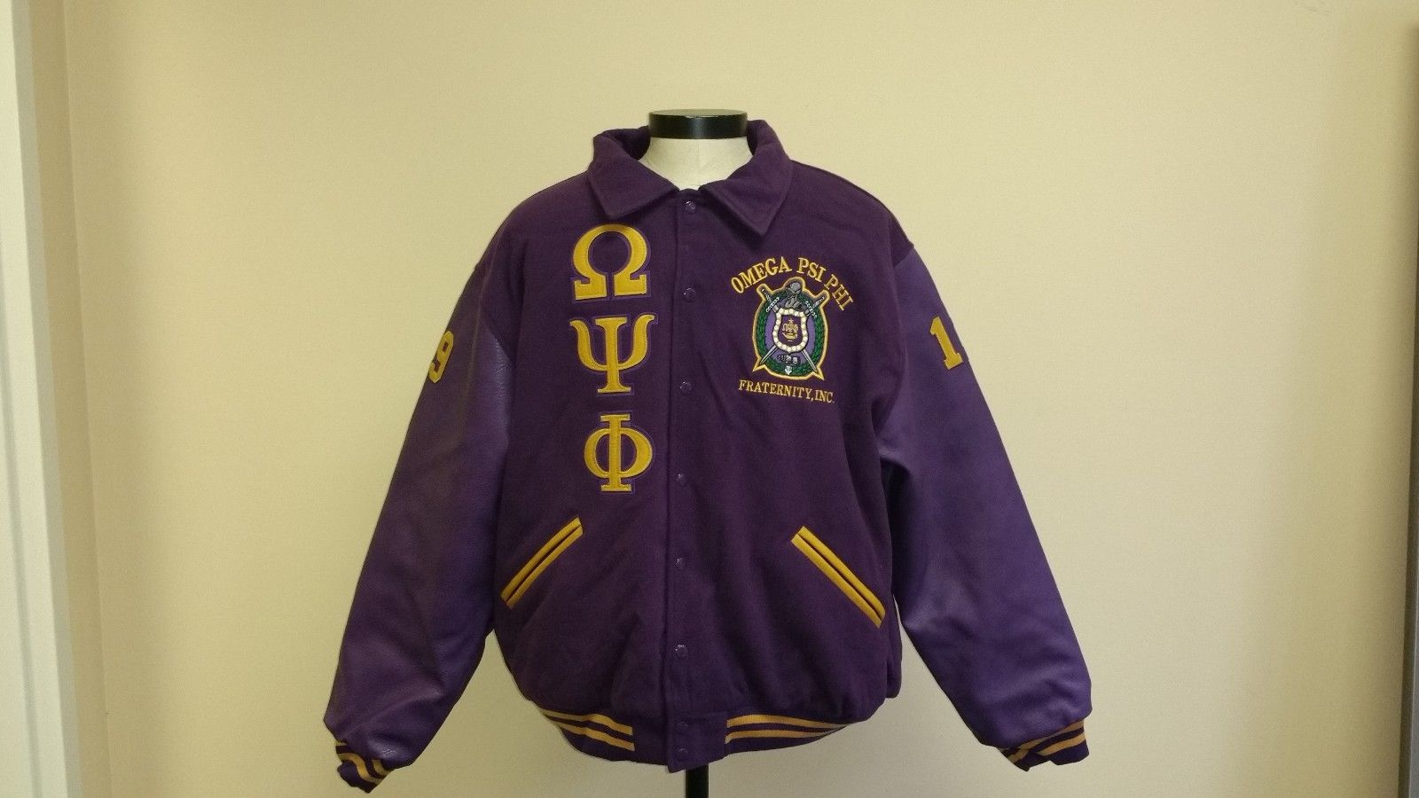 Primary image for OMEGA PSI PHI FRATERNITY WOOL LETTERMAN JACKET Q-DOG WOOL FRATERNITY JACKET M-6