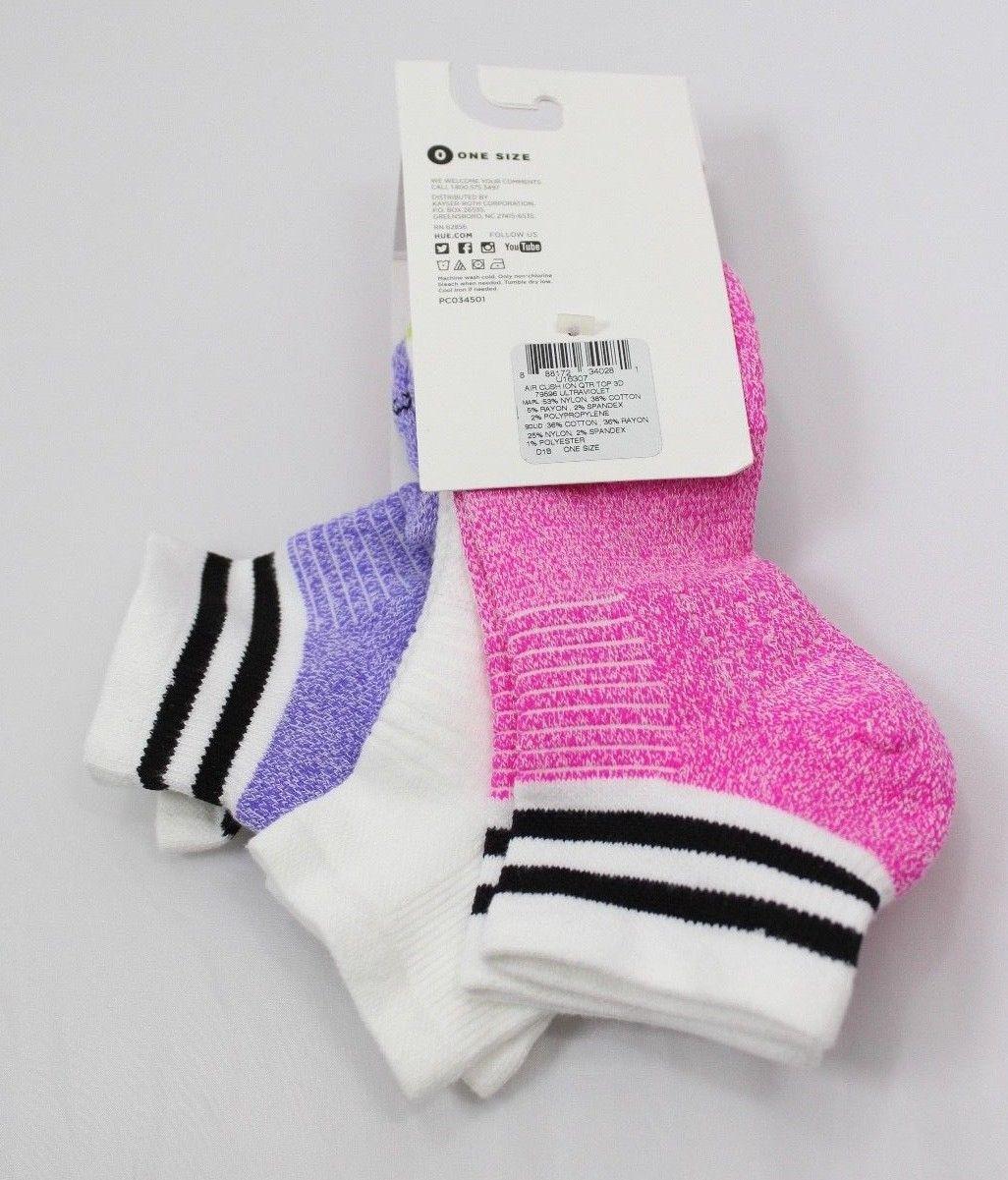 HUE 3-pairs Air Sleek Quarter-Top Cushioned Socks Ultraviolet Pack