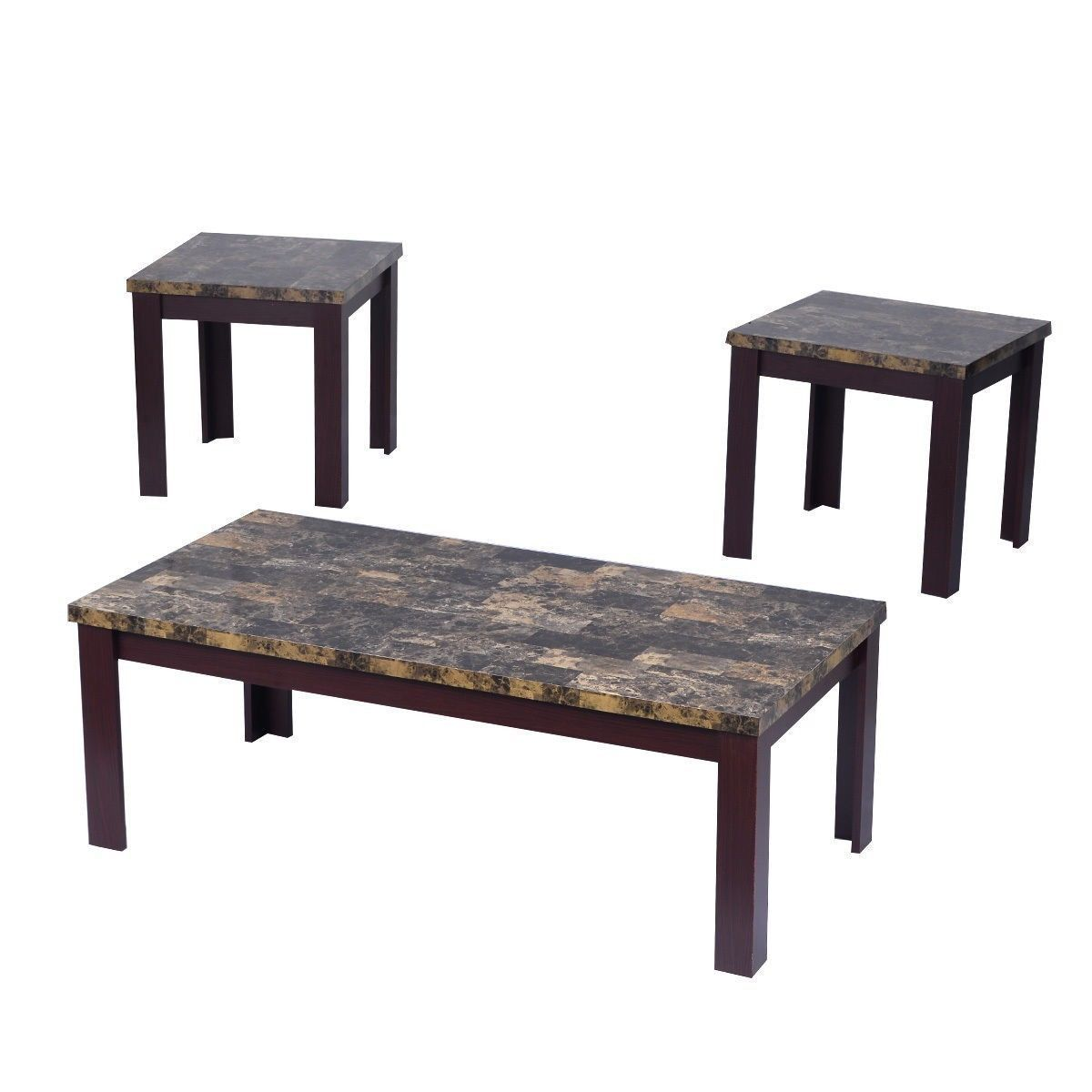 Faux marble coffee table set living room sofa accent end for Living coffee table