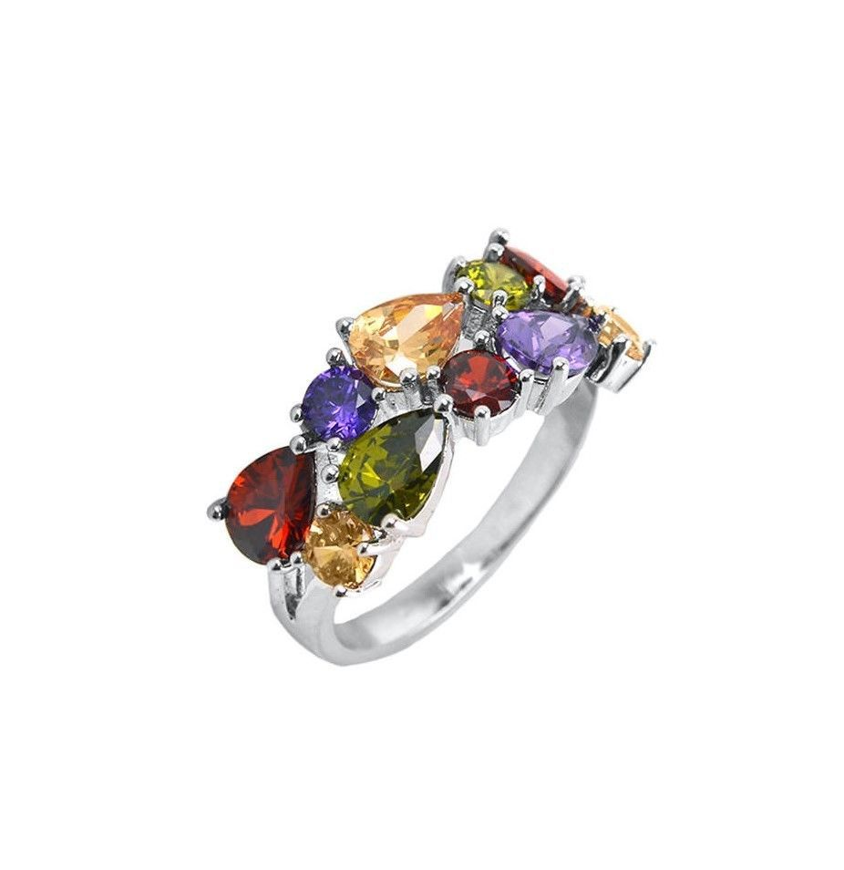 Primary image for Tear-Drop+Round 5A Cubic Zirconia 10mm Water-Colors Cluster Band Ring-Rhodium