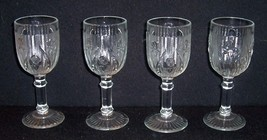 4 IRIS & HERRINGBONE Footed 4 oz Clear Wine Bar Goblets JEANETTE GLASS - $28.00