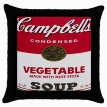NEW Campbell Soup Black Cushion Cover Throw Pillow Case - $15.00