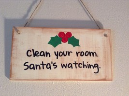 Elf Works Lane Satellite Workshop Custom Sign Clean Your Room Santas Watching