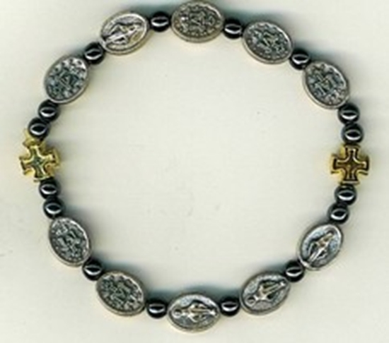 Bracelet   square metal crosses with dark gray square bead 3139a 001 thumb200