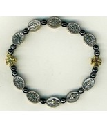 Bracelet -  square metal crosses with Miraculous medal bead - $16.95