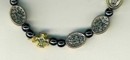 Bracelet -  square metal crosses with Miraculous medal bead image 2