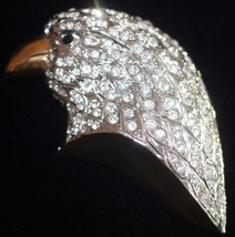 AMERICAN EAGLE Crystal Gold Plated Vintage BROOCH Pin - MASSIVE - £50.16 GBP